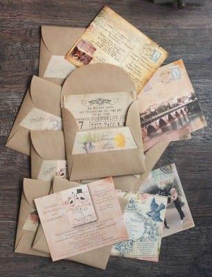 όμορφα και ρομαντικά προσκλητήρια γάμου με κραφτ φάκελο με φάσα 0,60 €