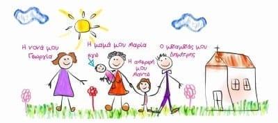Προσκλητήριο ζωγραφιά με τη δική σας οικογένεια