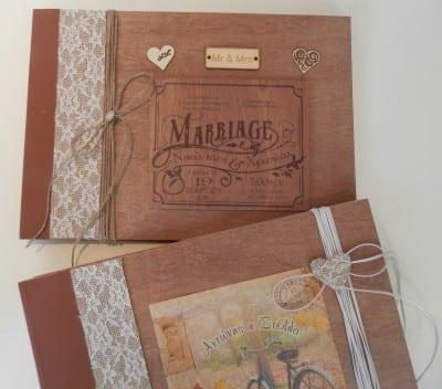 βιβλίο ευχών γάμου ξύλινο με το θέμα της αρεσκείας σας και τα ονόματά σας